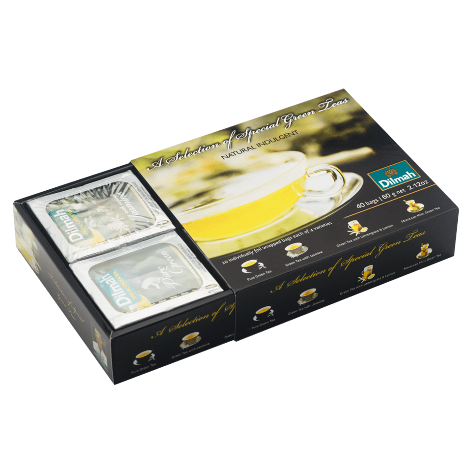 Dokonalý darček pre milovníkov zeleného čaju. Výber obsahuje pravý cejlónsky zelený čaj, zelený čaj s kvetmi jazmínu, zelený čaj scitrónovou trávou a citrónom a zelený čaj s marockou mätou.