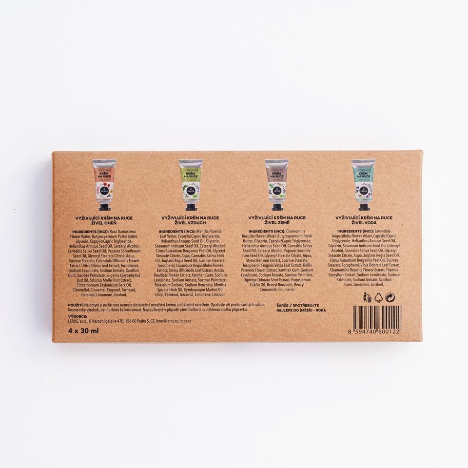 Sada krémů na ruce inspirována čtyřmi živly v dárkové krabičce. Každý krém je inspirovaný jedním ze živlů.